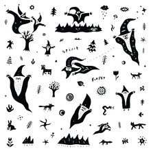 Fairytale Character Flying Spirit,forest Animals - Vector Illustration, Doodle Set