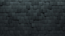 Concrete, 3D Wall Background With Tiles. Square, Tile Wallpaper With Polished, Futuristic Blocks. 3D Render