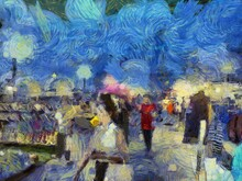 Flea Market Illustrations Creates An Impressionist Style Of Painting.