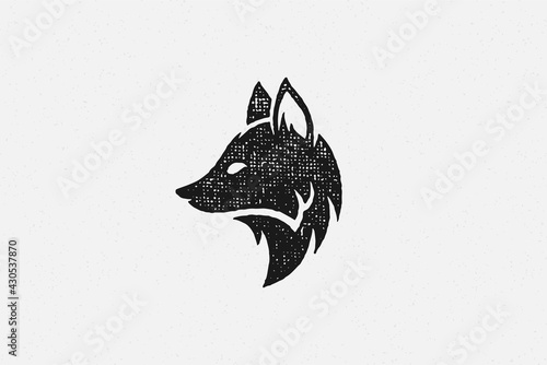 Silhouette of wild fox head profile as symbol of wildlife in countryside hand drawn stamp effect vector illustration. - fototapety na wymiar