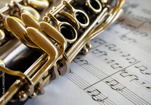 Canvas Print clarinet with sheet music,close shot of clarinet with sheet music