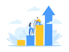 Business Mentor Helps To Improve Career And Holding Stairs Steps Vector Illustration. Mentorship, Upskills, Climb Help And Self Development Strategy Flat Style Design Business Concept.