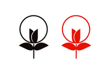 Vector Graphic Illustration Of Flower Stick, Flower Logo, Flower Icon,circle Rose, Flower Trident Perfect For Graphic Designer Needs, Education ,etc