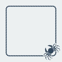 Marine Background. Sea Rope Frame With Crab