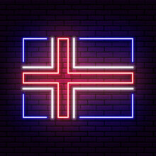 Neon Sign In The Form Of The Flag Of Iceland. Against The Background Of A Brick Wall With A Shadow. For The Design Of Tourist Or Patriotic Themes. Blue White Red Colors.