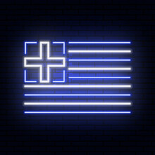 Neon Sign In The Form Of The Flag Of Greece. Against The Background Of A Brick Wall With A Shadow. For The Design Of Tourist Or Patriotic Themes. White Blue Colors.