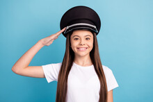 Portrait Of Attractive Cheerful Content Ambitious Girl Wearing Hat Posing Isolated Over Bright Blue Color Background