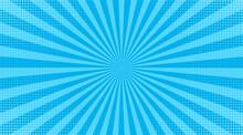 Pop Art Halftone Background. Comic Starburst Pattern. Blue Banner With Dots And Rays. Cartoon Retro Sunburst Effect. Vintage Duotone Texture. Superhero Wow Banner. Vector Illustration.