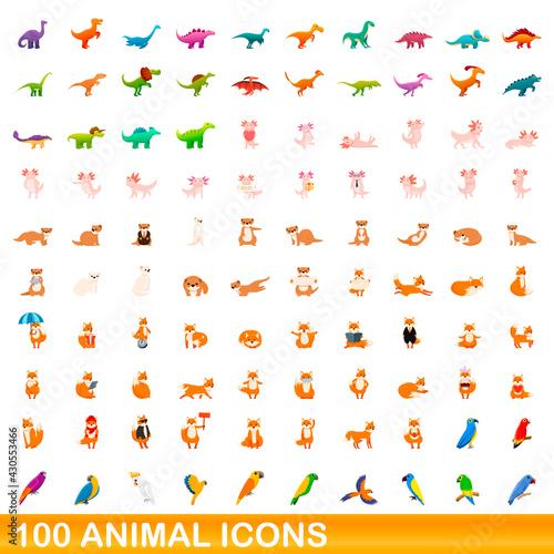 Fototapeta premium 100 animal icons set. Cartoon illustration of 100 animal icons vector set isolated on white background