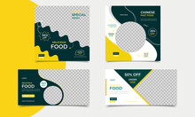 Set Of Editable Square Social Media Banner Template Design For Delicious Food Posts. Suitable For Social Media Post Restaurant. Corporate Social Media Restaurant Food Banner Vector Design Template.