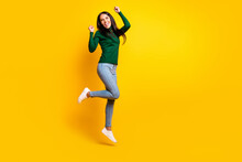 Full Length Photo Of Cheerful Victorious Woman Jump Up Raise Fists Winner Isolated On Yellow Color Background
