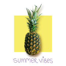 Typography Slogan Poster Print With Fresh Pineapple. Illustration, T-shirt Graphic, Tee Print Design. For T-shirt Or Other Uses,T-shirt Graphics, Textile Graphic