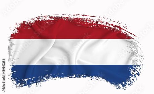 Canvas Print Netherlands flag, brush stroke, typography, lettering, logo, label, banner on a white background