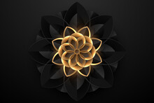 Abstract Black And Gold Geometric Flower Background