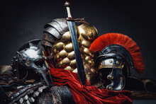 Ancient Rome Warrior And Gladiator Armor And Sword