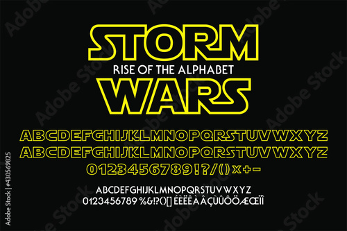 Outline yellow alphabet for science fiction titles. Vector typography illustration