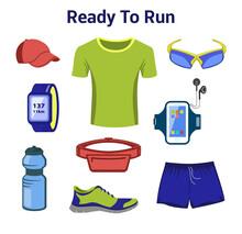 Running Gear For Man. Running Accessories For Male. Fitness Set. Sport Shoes, Fitness Drink, Tee Shirt, Gps Watch, Belt Bag, Sport Glasses, Baseball Cap.