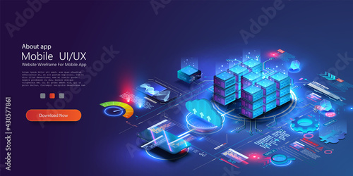 Concept of big data processing center, future cloud database. Digital service or app with data transfering. Online computing technology. Servers and datacenter connection network. Isometric vector - fototapety na wymiar