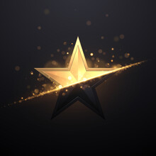 Black And Gold Star With Light Effect