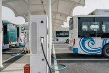 Bus Is Charging In Power Station