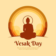 Happy Vesak Day Banner - Brown Buddha Meditated Sign In Circle Layer With Sky On Yellow Background Vector Design