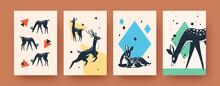 Bright Collection Of Contemporary Art Posters With Deer. Stylish Leaflets With Cute Deer In Vector Illustrations. Forest Animals And Wildlife Concept For Banners, Website Design Or Backgrounds