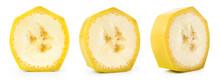 Banana Slice Isolated. Cut Bananas On White. Set Of Banana Slices On White Background.