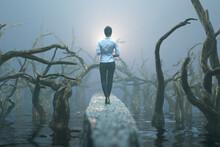 Businesswoman Walking Through The Misty Forest