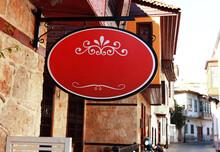 Blank Wrought Iron Red Oval Sign Kaleici – Antalya