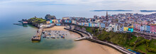 An Aerial Panorama View Of Tenby, South Wales In Springtime