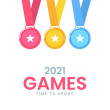 2021 Games Time To Sport Poster Design With Three Color Star Medals On White Background.