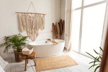 Cozy Modern Minimalistic Bathroom Interior With Big White Bathtube Indoors