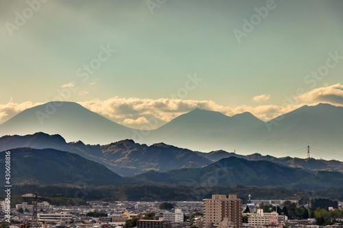 夕暮れの地方都市の景色(栃木県宇都宮市) Fototapete