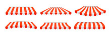 Outdoor Awnings  Red And White Umbrella For Cafe And Shop Windows Isolated Set. Awning Umbrella For The Market, Striped Summer Scallop For Shop. Vector Illustration Eps 10