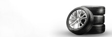 Summer Tires And Wheels-stack On White Background, New Wheels Long Blank Layout Copyspace
