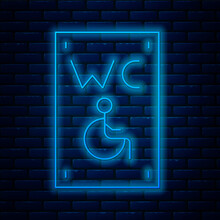 Glowing Neon Line Separated Toilet For Disabled Persons Icon Isolated On Brick Wall Background. Handicapped Accessible Male And Female WC. Vector