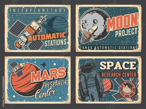 Canvas Print Space planets research center, Mars and Moon exploration program retro grungy plates
