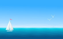 Marine Background With Sailing Boat And Seagulls