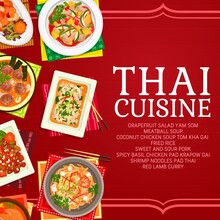 Thai Cuisine Restaurant Dishes Poster. Lamb Curry, Shrimp Noodles Pad Thai And Fried Rice, Grapefruit Salad Yam Som, Sweet And Sour Pork, Spicy Basil Chicken Pad Kparow Gai And Meatball Soup Vector