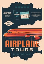 Airplane Tours, Airline Travel Service Retro Banner. Air Journey Plans, Passenger Transportation Poster. Modern Airliner Jet Plane Flying In Clouds, Passport And Flight Tickets Vector