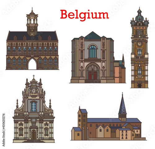 Stampa su Tela Belgium cathedrals, architecture landmarks and churches of Mons, Binche and Louvain city, vector