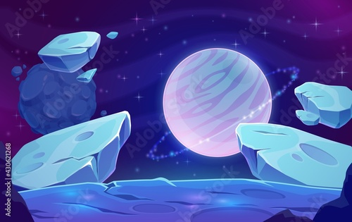 Cuadros en Lienzo Planets and asteroids in outer space, galaxy fantasy world background