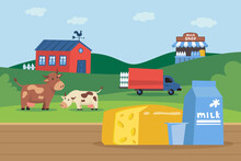 Carton Of Milk And Cheese In Front Of Milk Farm Illustration. Happy Cow Eating Grass, Truck Loading Bottles Of Milk, House And Shop. Farming, Agriculture, Milk Production, Dairy Products Concept