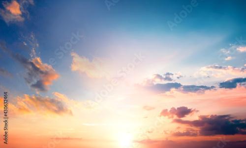 Bright orange sky and Colorful sky in twilight background - fototapety na wymiar