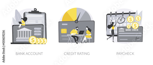 Fotografia Financial services abstract concept vector illustrations.