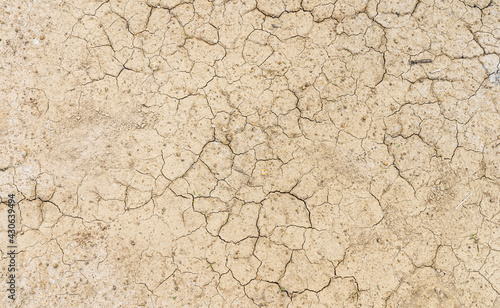 Canvas Print Brown dry soil or desert cracked ground texture background,land arid earth warming