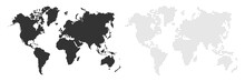 World Map. Map Silhouette. World Map In Different Style. Map Earth Template With Continents, USA, Europe And Asia, Africa And Australia. Vector