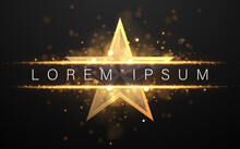 Black And Gold Star Shape Background With Glow Effect