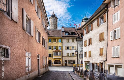 Fotografiet Desert streets of the old town of Porrentruy, Switzerland
