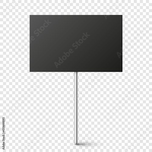 Black blank board with place for text, protest sign isolated on transparent background Fototapet